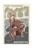 Port Townsend, Washington - River Otters - Woodblock Print Prints by  Lantern Press