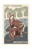 Port Townsend, Washington - River Otters - Woodblock Print Prints