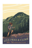Live Free and Climb, Mt. Washington - Hiker Scene Posters by  Lantern Press