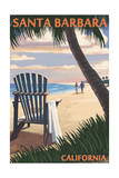 Santa Barbara, California - Adirondack Chair on the Beach Prints