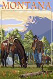Cowboy and Horse in Spring - Montana Prints by  Lantern Press