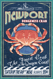Newport, Oregon - Dungeness Crab Vintage Sign Prints by  Lantern Press