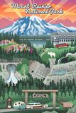 Rainier National Park - Retro View Print by  Lantern Press