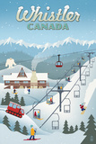 Whistler Village Retro Scene - Whistler, Canada Posters by  Lantern Press
