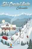 Crested Butte, Colorado - Retro Ski Resort Posters