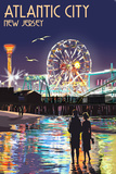 Atlantic City, New Jersey - Steel Pier at Night Prints by  Lantern Press