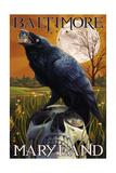 Baltimore, Maryland - Raven and Skull Poster by  Lantern Press