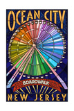 Ocean City, New Jersey - Boardwalk Ferris Wheel Posters by  Lantern Press