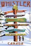 Ski Runs Signpost - Whistler, Canada Giclee-tryk i høj kvalitet af  Lantern Press