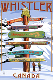 Lantern Press - Ski Runs Signpost - Whistler, Canada - Reprodüksiyon