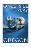Go Outside and Play - Oregon Sea Otter Poster af Lantern Press