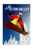 Teton Valley, Idaho - Snowboarder Prints by  Lantern Press