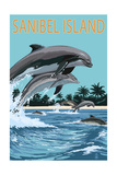 Sanibel Island, Florida - Dolphins Jumping Posters by  Lantern Press