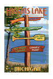Higgins Lake, Michigan - Sign Post Posters by  Lantern Press