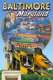 Baltimore, Maryland - Baseball Montage Posters by  Lantern Press
