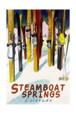 Steamboat Springs, CO - Colorful Skis Posters
