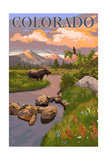 Colorado - Moose and Meadow Scene Poster by  Lantern Press