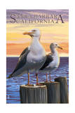 Santa Barbara, California - Seagull Print by  Lantern Press