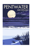 Pentwater, Michigan - Full Moon Night Scene Posters by  Lantern Press