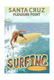 Santa Cruz, California - Pleasure Point Surfer Scene Prints by  Lantern Press