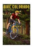 Colorado - Mountain Biker in Trees Schilderij van  Lantern Press