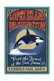 Lopez Island, WA - Orca Whale Vintage Sign Prints by  Lantern Press