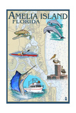 Amelia Island, Florida - Nautical Chart Prints by  Lantern Press