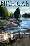 Michigan - Pontoon Boats Art by  Lantern Press