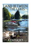 Land Between the Lakes, Kentucky - Pontoon Boats Art by  Lantern Press