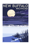 New Buffalo, Michigan - Full Moon Night Scene Art by  Lantern Press