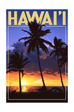 Palms and Sunset - Hawaii Poster by  Lantern Press