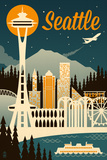 Seattle, Washington - Retro Skyline Giclée-Premiumdruck von  Lantern Press