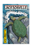 Jacksonville, Florida - Sea Turtle Woodblock Print Kunst van  Lantern Press