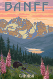 Banff, Canada - Bear and Spring Flowers Premium Giclee Print by  Lantern Press