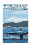 Orcas Island, WA - Whales and Ferry Prints by  Lantern Press