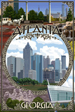 Atlanta, Georgia - Montage (No Flowers) Posters by  Lantern Press