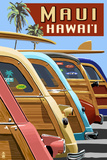 Woodies Lined Up - Maui, Hawaii Poster by  Lantern Press