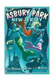 Asbury Park, New Jersey - Mermaids Vintage Sign Print