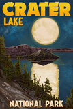 Crater Lake National Park, Oregon - Lake and Full Moon Posters by  Lantern Press