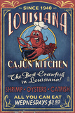 Louisiana - Cajun Kitchen Crawfish Vintage Sign Posters by  Lantern Press