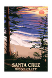 Santa Cruz, California - West Cliff Sunset and Surfers Art by  Lantern Press