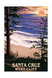 Santa Cruz, California - West Cliff Sunset and Surfers Art by  Lantern Press