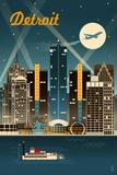 Detroit, Michigan - Retro Skyline Kunstdrucke von  Lantern Press
