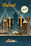 Detroit, Michigan - Retro Skyline Prints by  Lantern Press