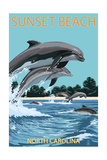 Sunset Beach - Calabash, North Carolina - Dolphins Jumping Prints by  Lantern Press