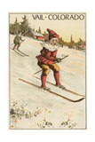 Vail, Colorado - Santa Skiing Prints by  Lantern Press