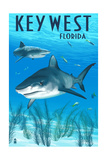 Key West, Florida - Sharks Prints by  Lantern Press