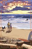 New Buffalo, Michigan - Sunset on Beach Posters by  Lantern Press