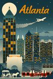Atlanta, Georgia - Retro Skyline Kunst von  Lantern Press