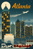 Atlanta, Georgia - Retro Skyline Prints by  Lantern Press